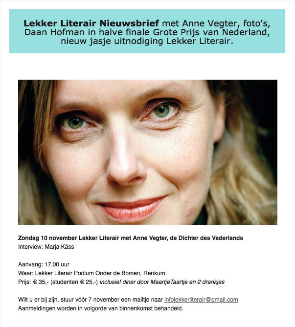 Lekker Literair Podium Onder de Bomen Anne Vegter 10 nov 2013 Kass Produkties Maartje Strijbis
