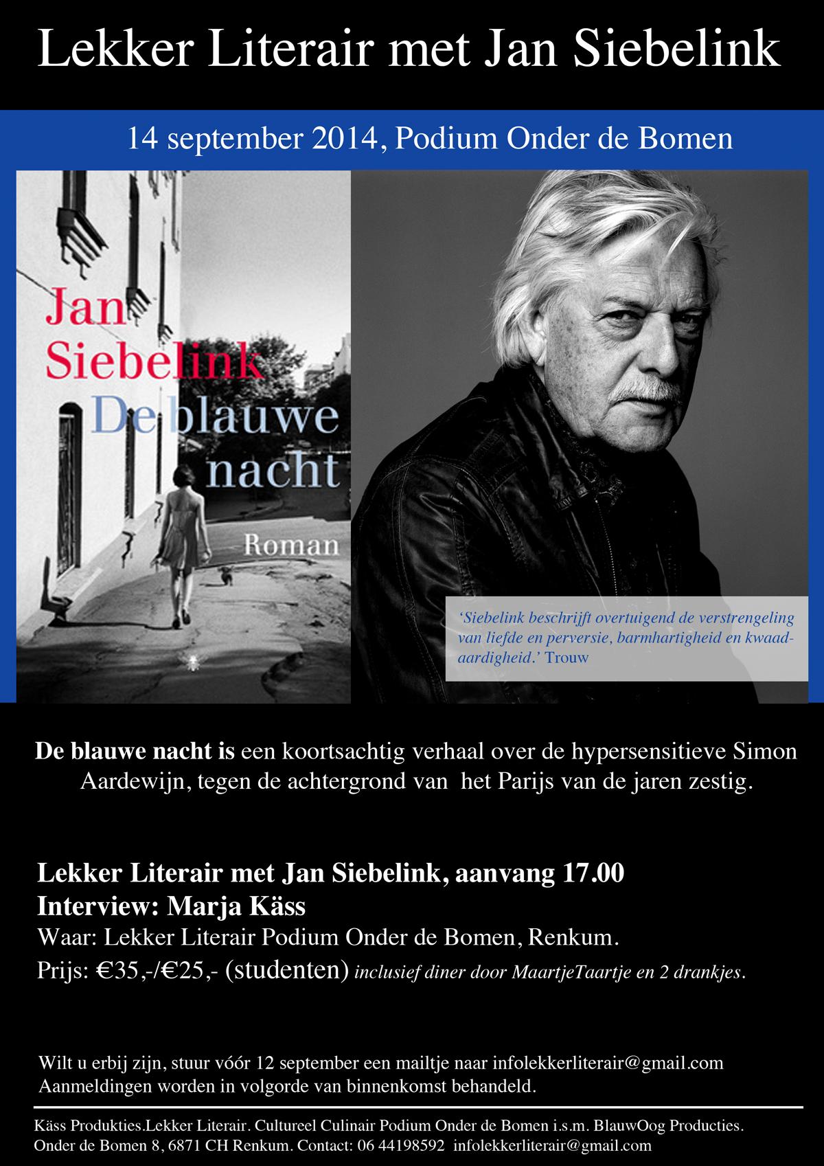 Lekker Literair met Jan Siebelink uitnodiging